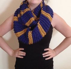 Hogwarts Houses Infinity Scarf Ravenclaw by GalleonsSicklesKnits, $26.00 -- Alliance colors also :D