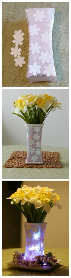 Spring Flowers | Frugal Decor: Painted Vase With Mod Podge Flower Cut Outs.    happydealhappyday.com