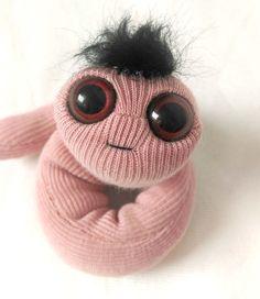 Pink pocket worm, plush stuffed animal Etsy listing at https://www.etsy.com/listing/229035890/pale-pink-worm-puppet-pocket-size-plush