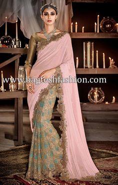Stylish Beige And Pink Half N Half Saree