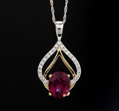 Natural Genuine Raspberry Garnet Solitaire with Diamond Accents Pendant. Pendant Set, Pendant Jewelry, Gemstone Jewelry, Pendant Necklace, Fine Jewelry, Unique Jewelry, Jewelry Design, Bling, Gemstones