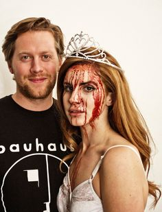 Lana Del Rey with Q Magazine's picture editor Russ O'Connell on set of her cover shoot, November 2011