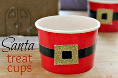 DIY Kids Crafts : DIY Santa Belt Treat Cups