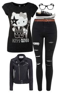 """Because I can"" by little-miss-emo-girl ❤ liked on Polyvore featuring Hello Kitty, IRO, Topshop, Converse, Dorothy Perkins and because"