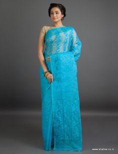 Kavya All Blue Bel Patterned Fine #JamdaniCottonSaree