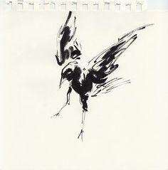 Daniel P. Dwyer: Vogel 07. Tusche auf Papier #Zeichnung #danielpdwyer  #startyourart www.startyourart.de