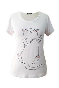 T-Shirt Blusa branca manga curta com estampa de um lindo gatinho dormindo  de barriguinha 5f6b49ccf8