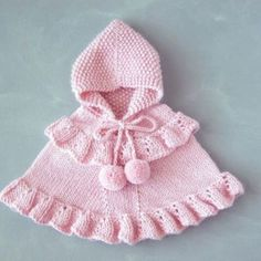 Pink Baby Girl Poncho & Toddler Ruffled Sweater & Alpaca Knit Hooded Cape & Romantic Children Outfit & One Of A Kind & from KnittName on Etsy. Knitting For Kids, Baby Knitting Patterns, Crochet For Kids, Baby Patterns, Crochet Baby, Knitted Baby, Free Crochet, Crochet Patterns, Baby Cardigan