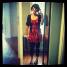 Thrifted dress and cardigan, leggings from Forever 21, shoes by Simple.