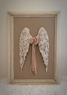 """Shabby angel wings cottage chic & vintage antique frame distressed hand painted by Julie Roberts 30""""x42"""". Check out www.elevateddecorco.com for more details and one of a kind home decor!"""