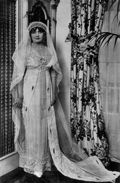 Miss Lily Elsie, (1886-1962) Edwardian Stage Actress, in her Wedding gown - copied from one of the Empress Josephine's.  She married the wealthy and widowed, Major Ian Bullough, in 1911, by reports, not a very happy marriage.