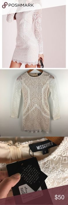 Missguided white lace body con dress with sleeves Beautiful white lace dress overlaying nude lining. New with tags bust 32 sleeve 24 length 32.5. Long zip down the back Missguided Dresses Mini