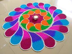 YouTube Rangoli Designs Simple Diwali, Colorful Rangoli Designs, Rangoli Ideas, Beautiful Rangoli Designs, Simple Rangoli, Diwali Designs, Ganesh Rangoli, Diwali Rangoli, Indian Rangoli