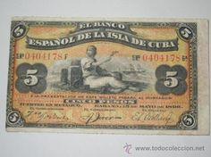 billete banco español de la isla de cuba 5 pesos 1896 ebc  serie f sellado en reverso