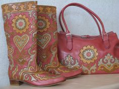 Tatar boots and bag are created by Nailya Kumysnikova in leather mosaic…