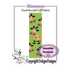 Mooooooo Beaded Peyote Bracelet Cuff Pattern by FUNPATTERNDESIGNS, $4.50