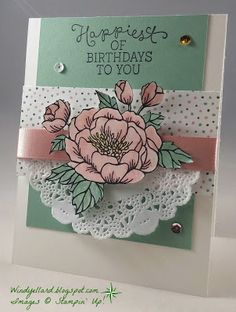 Windy's Wonderful Creations: PPA292 Happiest Of Birthdays!, Stampin' Up!, Birthday Blooms, Birthday Bouquet DSP