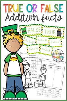An addition hands-on activity that students have to sort facts into true or false statements. It has 3 sets of 12 cards with facts and two types of worksheets, one cut and paste, and one to fix the sentences, for each set. Vocabulary Wall, Vocabulary Cards, Addition Facts, Hands On Activities, Growth Mindset Quotes, Math Resources, Phonics Games, 3rd Grade Classroom, Formative Assessment