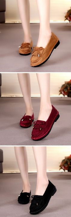 US$21.53 Tassel Suede Bowknot Slip On Driving Flat Shoes For Women