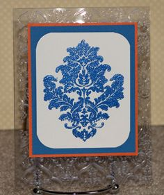 bright embossed damask card