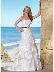 Angel Satin A-line Soft Dipped Strapless Wedding Dress