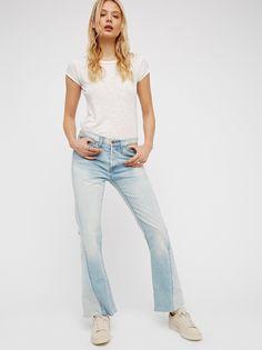 FP NSF Aero Vintage Side Seam Twist Distressed Crop Flare Slouchy Mid-Rise Jean (Washed Down Indigo)