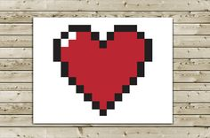 Nerd I Love You Greeting Card  Pixel Heart by aLouCreations, $3.85