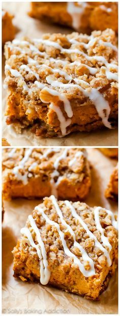 Instead of pumpkin pie this season, try my pumpkin streusel bars. With a gingersnap crust and brown sugar streusel topping, everyone will want seconds!