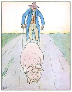 To market, to market, to buy a fat hog.  Artist: Brooke, Leonard Leslie Book Title: A nursery rhyme picture book [no.1] Author: Anonymous Published: London, n.d. [1914] Source: The New York Public Library, the Internet Archive