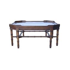 SALE Vintage Lane Faux Bamboo Chippendale Wood Cocktail Coffee Table with Beveled Glass Top | Chinoiserie | Holllywood Regency | Mid Century