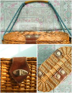 Vintage 60s woven basket purse / natural brown / by moonandsoda