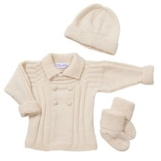 Double Breasted Jacket, Hat and Booties Set Merino Cashmere
