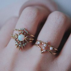 """sunset-neon: """" sosuperawesome: """" Rings by Morphē Jewelry on Etsy More like this """" I would buy all of these and wear them like the last picture all the time """""""