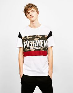 Short sleeve T-shirt with slogan. Discover this and many more items in Bershka with new products every week