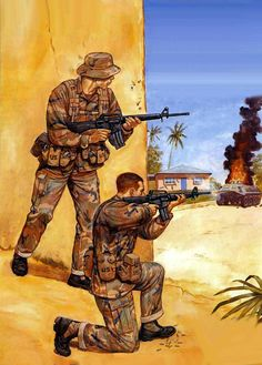 US marines and rangers in battle, Operation Urgent Fury, US Invasion of Grenada, 1983
