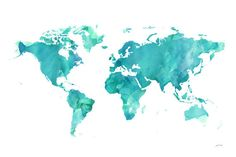 World watercolor Map printable file JPEG download and door iPrintArt