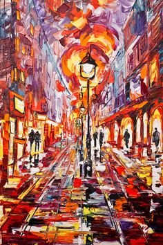 Night Boulevard in Belgrade  20X30 inch Ready to Hang by YANXIART, $128.00