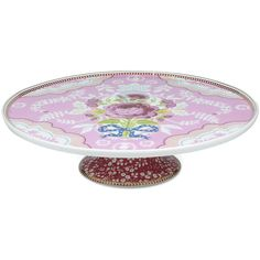 Pip Studio Floral Cake Stand - Pink ($54) ❤ liked on Polyvore featuring home, kitchen & dining, serveware, multi, cake stand, cake stands, pedestal cake plate, pink cake stands and pip studio