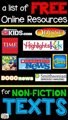 One Stop Teacher Shop: Free Resources for Non-Fiction Texts and free center response sheets A list of FREE Nonfiction reading websites and articles for kids that are all online. Perfect for when you need online nonfiction texts. Reading Websites For Kids, Reading Resources, Reading Strategies, Reading Activities, Teaching Reading, Teacher Resources, Reading Comprehension, Teacher Websites, Classroom Websites