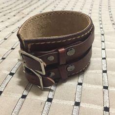 Leather Cuff Bracelet Double buckles. Leather cuff bracelet. Jewelry Bracelets