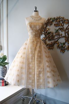 1950's Ivory and Gold Emma Domb Party Dress