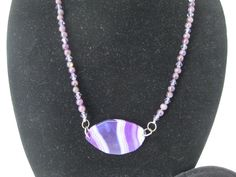 Lace Agate gem stone Pendant on a necklace of Amethyst beads, matching earrings. #MDJewelCraft
