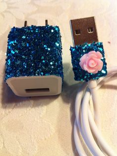 iPhone Charger customized chunky glitter charger by glitzznglam