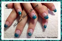 @Chad Prevost Color - Teal Marble with silver glitter and diamonties. Love these nails.
