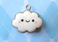 Kawaii Clay Charm Two Sided Cloud by JollyCharms on Etsy, $7.00