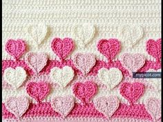 Crochet Hearts colored stitches With Pattern - YouTube