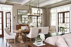 diy+restoration+hardware+furniture | dining room with glossy white wood beams, Restoration Hardware Trestle ...