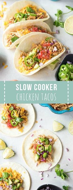 Shredded Chicken Tacos are made in the crockpot for an easy weeknight meal! Made… Shredded Chicken Tacos are made in the crockpot for an easy weeknight meal! Made from only a few ingredients, the shredded chicken is perfect for tacos or burrito bowls. Crockpot Shredded Chicken Tacos, Slow Cooker Chicken Tacos, Chicken Taco Recipes, Crock Pot Tacos, Mexican Food Recipes, Dinner Recipes, Tacos Crockpot, Taco Chicken, Chicken Cooker