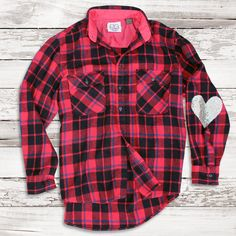 Design Your Own Sequin Elbow Patch Boyfriend Plaid Flannel Shirt - Womens Flannel Shirt