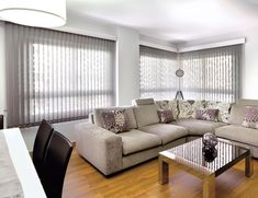 Cortina Roller, Curtains With Blinds, Shutters, Drapery, Scandinavian Design, Window Treatments, Sweet Home, House Design, Couch
